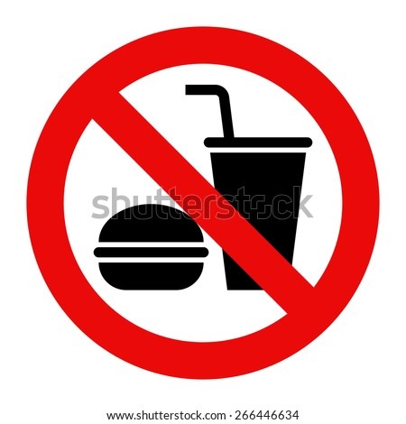 No eating and no drinks allowed isolated on white background - stock vector