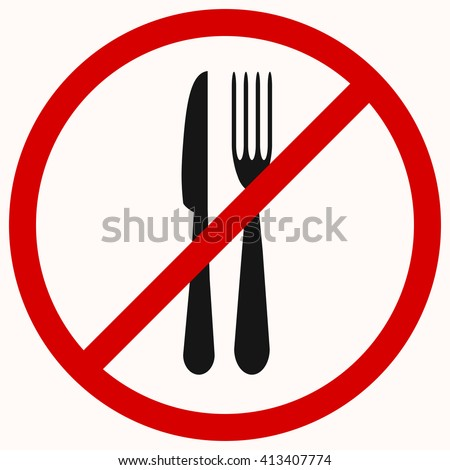 No Eating sign. Red prohibition vector symbol. You can simply change color and size - stock vector