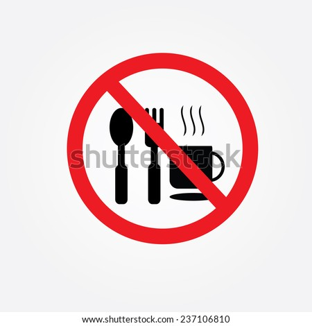 No eating vector sign,no food or drink allowed  vector - stock vector