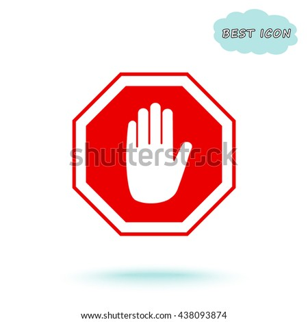 No entry hand sign icon, vector illustration. Flat design style