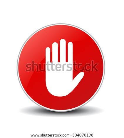 No entry hand sign on white background - stock vector
