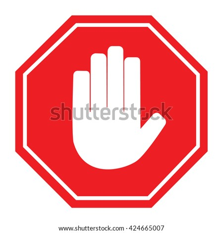 No entry hand sign. Vector illustration