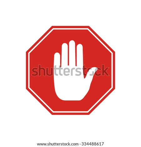 No entry stop sign with hand inside, isolated on white background. Vector illustration.