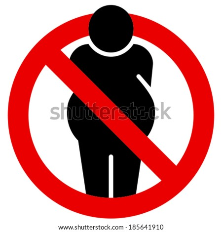 No fat people vector sign - stock vector
