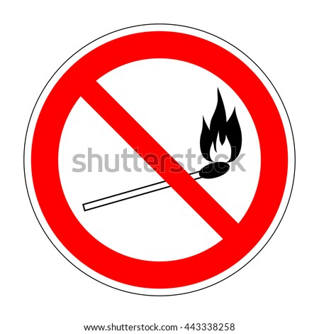 No fire match vector sign. Prohibition safety match symbol. Red icon on white background. No lucifer match sign. Stop fire. Stop symbol. Dont fire icon. Dangerous fire. Stock vector illustration - stock vector