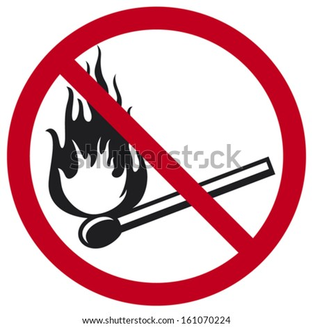 no fire sign (no matches symbol, no fire icon with a burning match) - stock vector