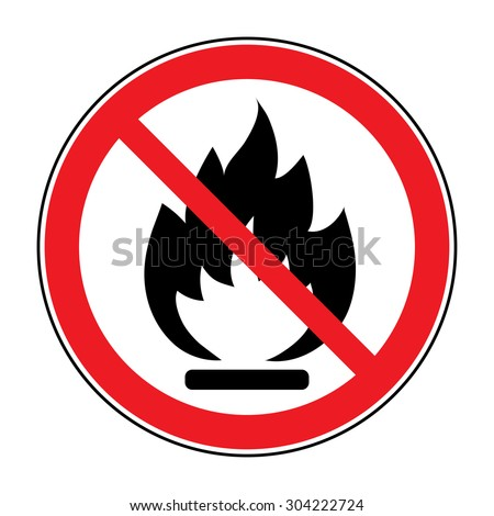 No Fire sign. Prohibition open flame symbol. Red icon on white background. Vector - stock vector