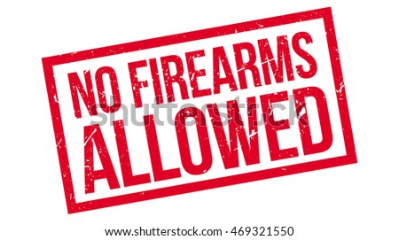 No Firearms Allowed rubber stamp on white. Print, impress, overprint.