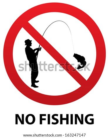 No Fishing Sign with Fisherman Silhouette inside