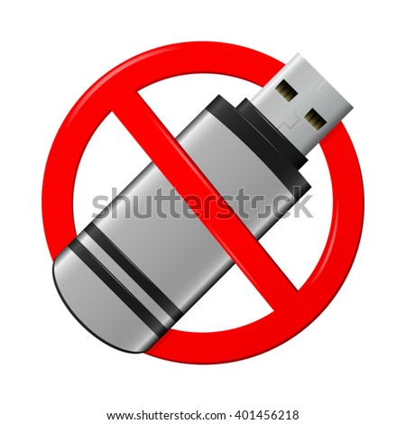 No flash drive sign, isolated on white background - stock vector