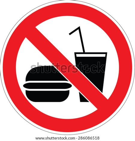 No food and drinks / eating forbidden sign vector illustration