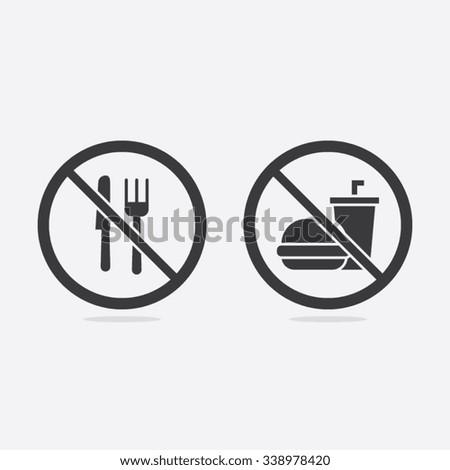 No Food or Beverages Vector Sign Illustration - stock vector