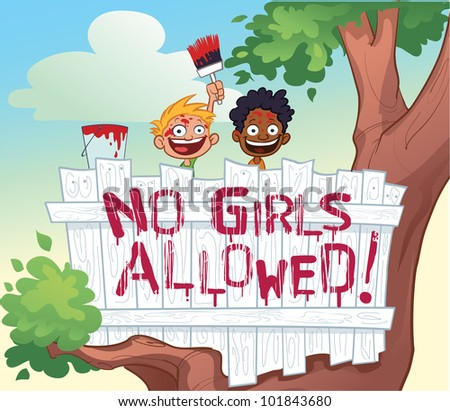 No Girls Allowed Tree House - stock vector