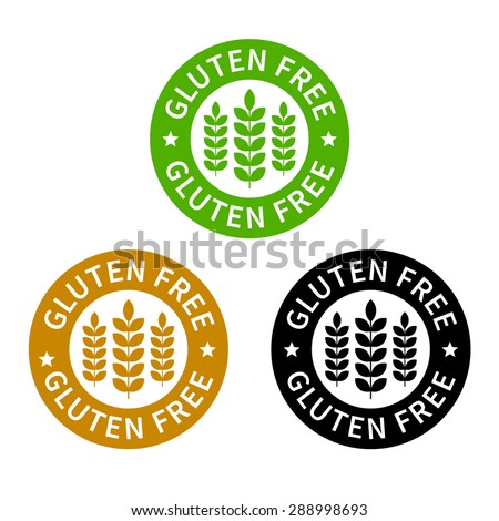 No gluten / free food label or sticker flat icon