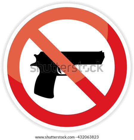 No gun sign on white background.vector illustration.