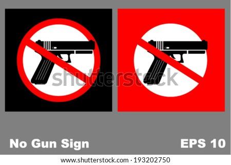 no gun sign, vector - stock vector
