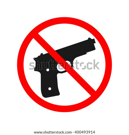 No Guns or Weapons Sign. - stock vector