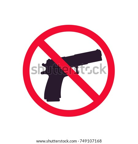 no guns sign with pistol silhouette, no shooting vector