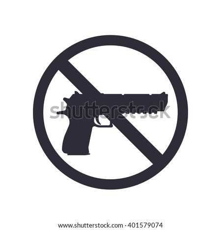 no guns sign with powerful pistol, gun silhouette, no weapons allowed, vector illustration - stock vector