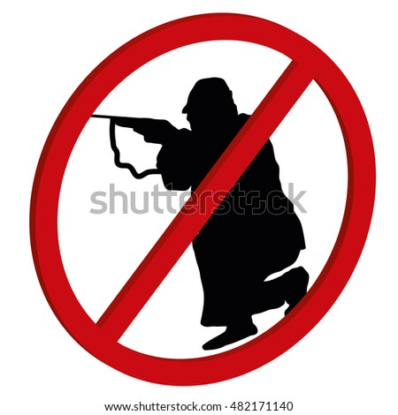 No hunt - no shooting forbidden 3D sign symbol on white background, vector stock illustration preventing shooting and violent behavior.