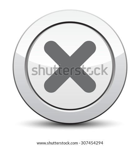 no icon. silver button. eps 10. - stock vector