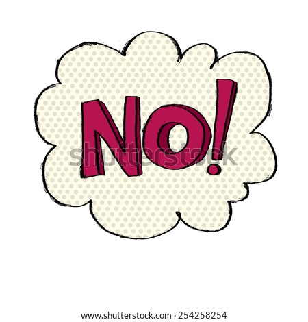 NO in cloud in comic style - stock vector