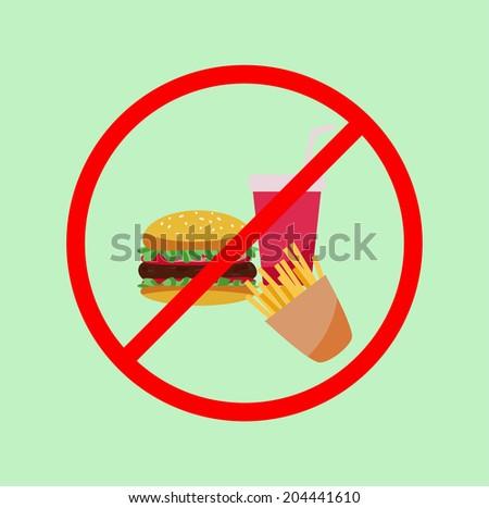 No junk food flat poster - stock vector
