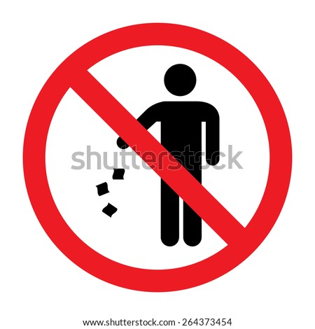 No Littering Sign - stock vector