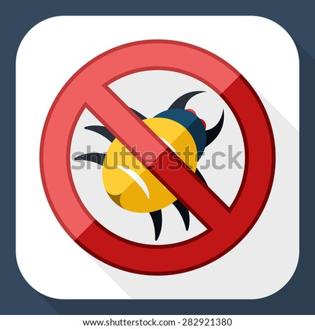 No malware icon with long shadow - stock vector