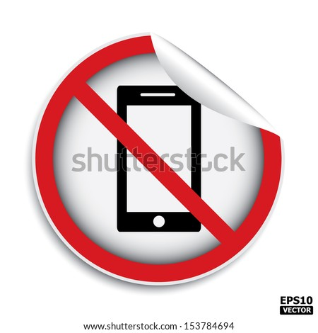 No mobile phone or cell phone area sign.-eps10 vector