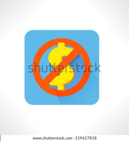 No Money. Vector flat icon. - stock vector