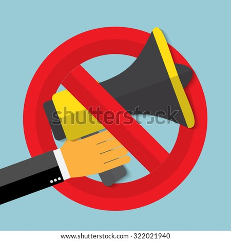 No noise concept. Megaphone for website and promotion banners. Flat design. - stock vector