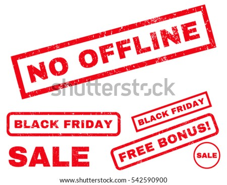 No Offline rubber seal stamp watermark with bonus design elements for Black Friday sales. Vector red signs. Text inside rectangular shape with grunge design and unclean texture.