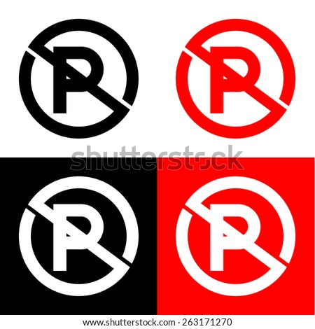 No parking icon great for any use. Vector EPS10. - stock vector