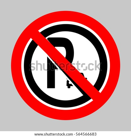 No Parking sign illustration. Forbidden sign isolated on gray background.