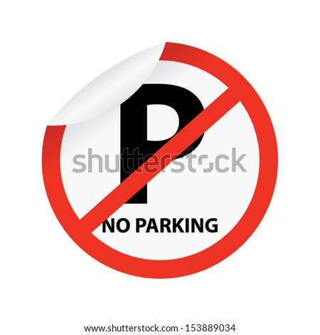 No parking sign on white. Vector - stock vector