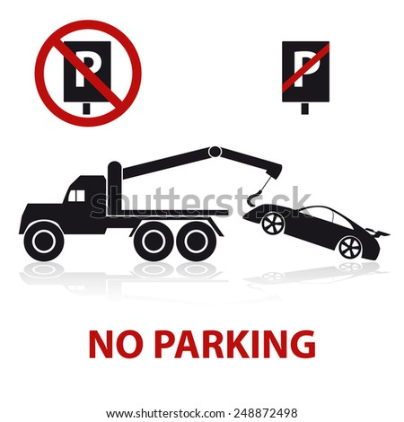 no parking symbols with car and signs eps10 - stock vector