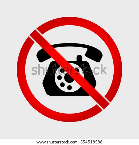 No phone old phone prohibition sign - stock vector