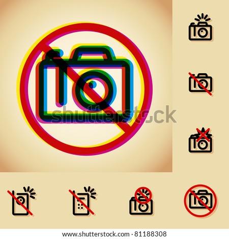 no photo camera allowed sign , vintage sticker - stock vector
