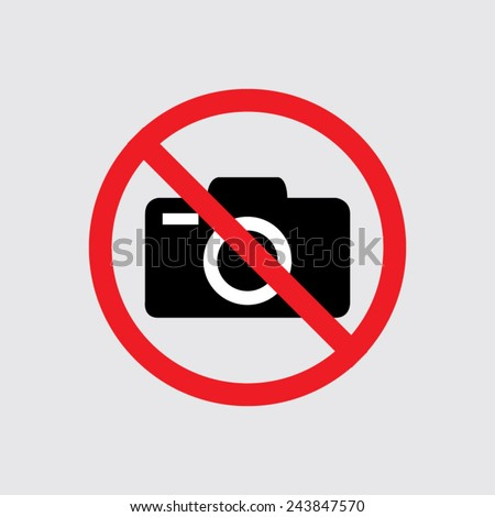 No photo camera vector sign isolated  on a grey background - stock vector