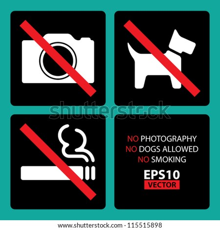 No Photography, No Dogs Allowed, No Smoking Signs Set 2 with Square background and Round Corners - EPS10 Vector - stock vector
