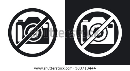 No photography sign, vector. Two-tone version on black and white background - stock vector