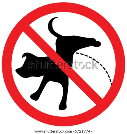 No pissing dog sign. - stock vector
