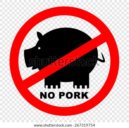 no pork, sign - stock vector