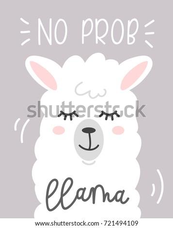 no prob llama cute card cartoon stock vector 721494109 - shutterstock