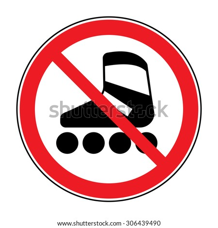 No roller skates icon. Symbol prohibited activities. Red sign on white background. Vector illustration - stock vector