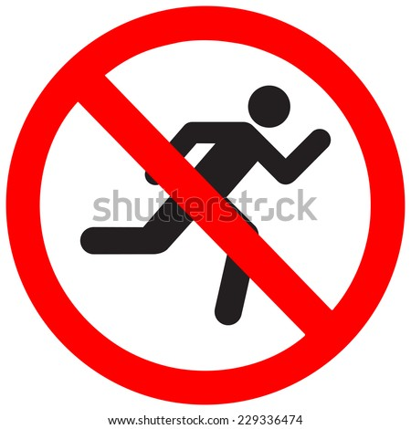 No run sign, vector illustration
