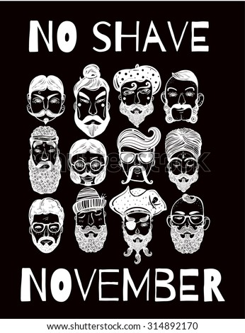 No Shave November charity  holiday action set or poster. Hand drawn men from different nations and professions with fun facial hair: beard, mustache, sideburns. Isolated vector collection.