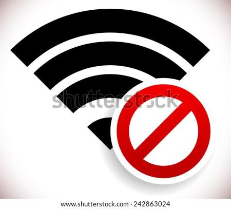 No signal, bad antenna, no wifi, no wireless connection symbol - stock vector
