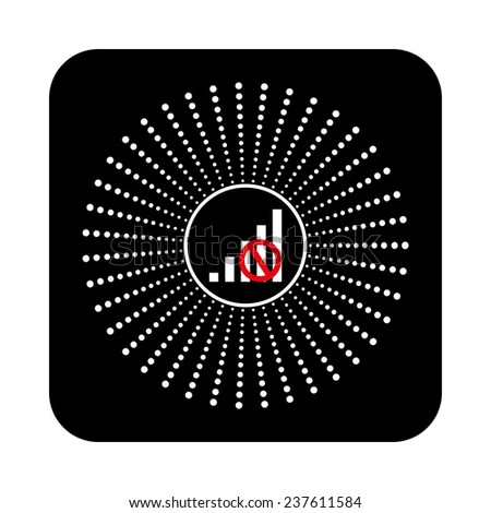 no signal, poor signal strength, signal strength indicator on a black background, vector - stock vector
